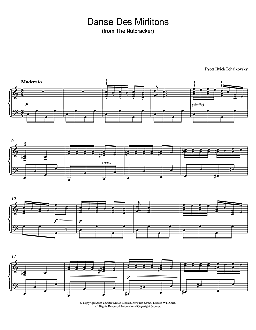 Danse Des Mirlitons (from The Nutcracker) (Piano Solo)