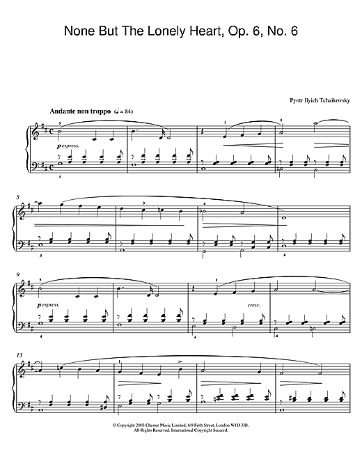 None But The Lonely Heart, Op. 6, No. 6 Sheet Music