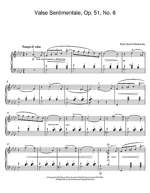 partition piano tchaikovsky valse sentimentale