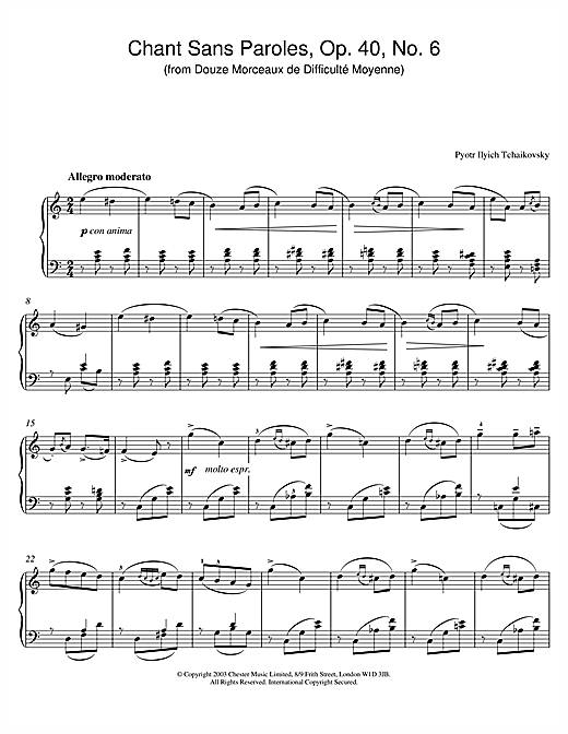 Chant Sans Paroles, Op. 40, No. 6 (from Douze Morceaux de Difficulté Moyenne) Sheet Music