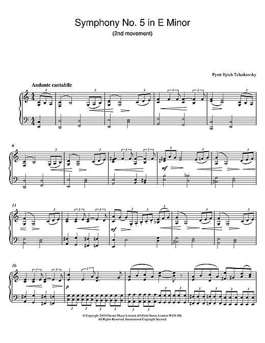 Symphony No. 5 in E Minor (2nd movement) (Piano Solo)