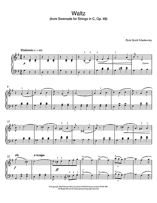 Waltz (from Serenade for Strings In C, Op. 48) Sheet Music