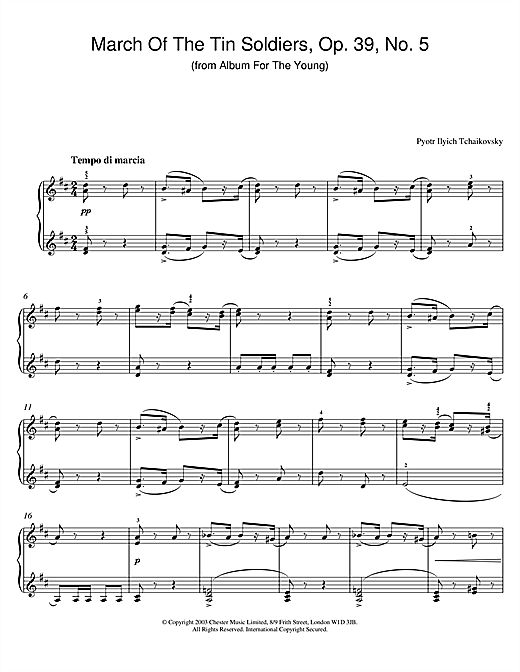 March Of The Tin Soldiers, Op. 39, No. 5 (from Album For The Young) (Piano Solo)