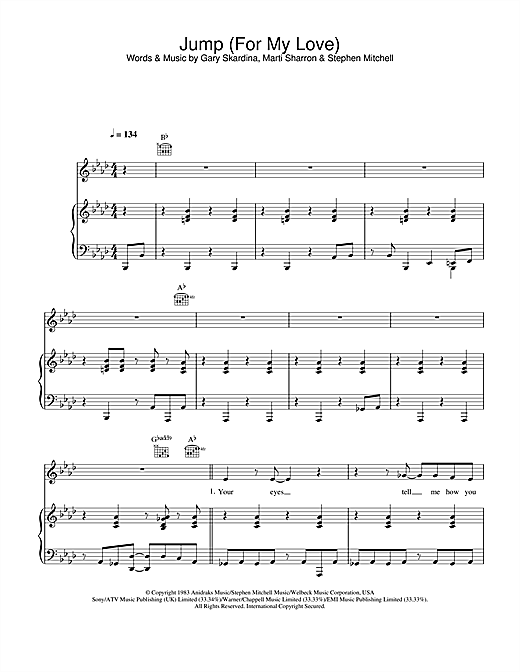 Jump (For My Love) Sheet Music
