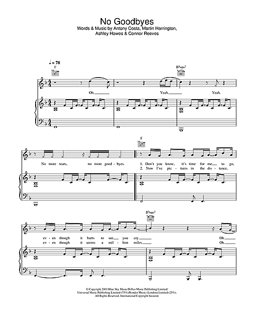 No Goodbyes Sheet Music