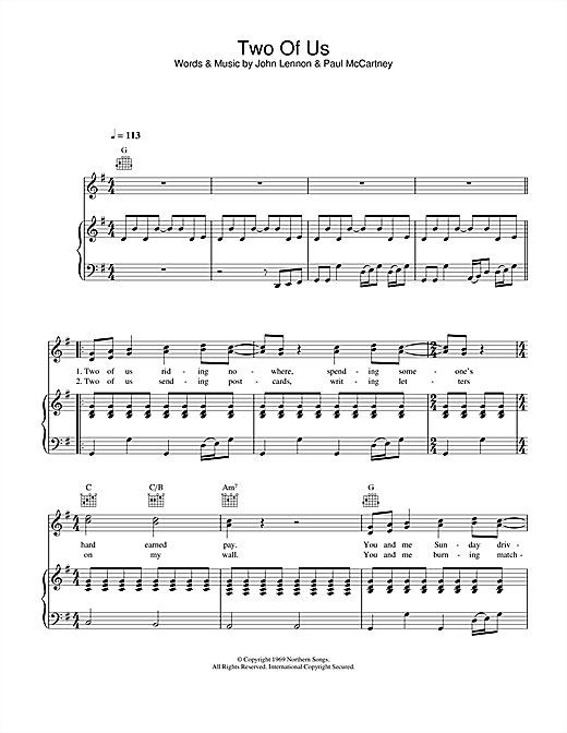 Partition piano Two Of Us de The Beatles - Piano Voix Guitare
