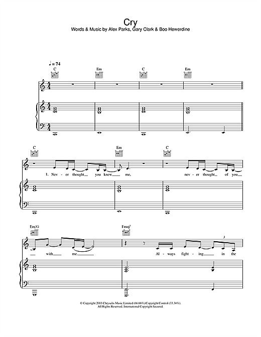 Cry Sheet Music