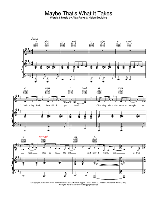 Maybe That's What It Takes Sheet Music
