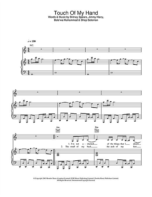 Touch Of My Hand Sheet Music