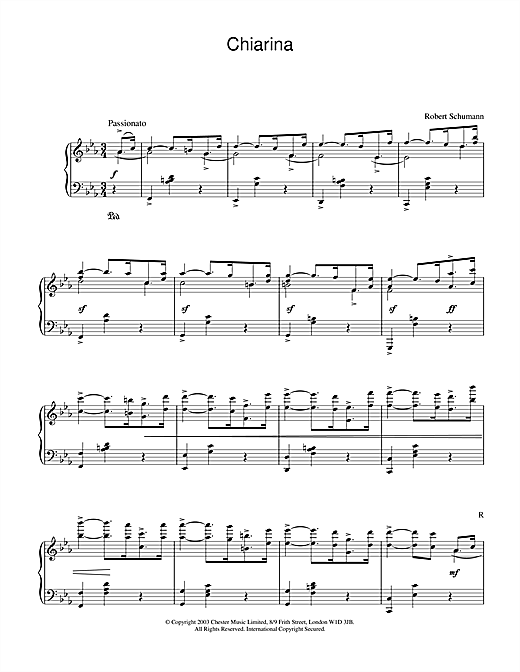 Partition piano Chiarina de Robert Schumann - Piano Solo