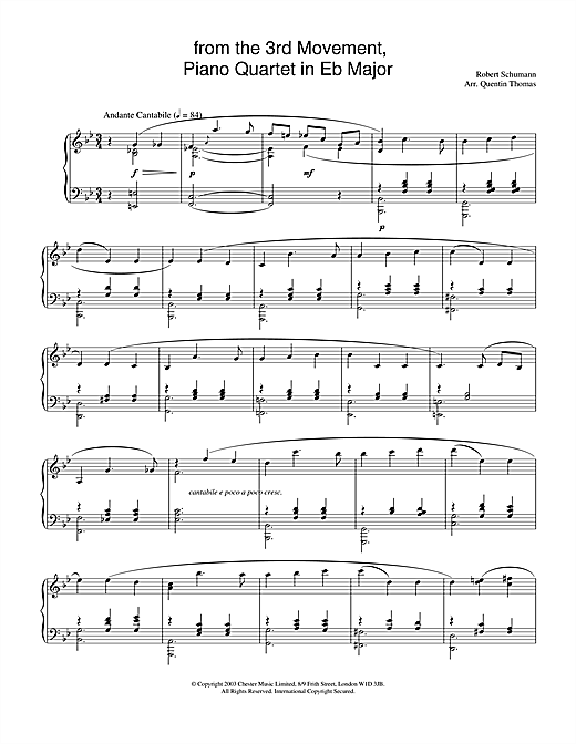 from the 3rd Movement, Piano Quartet in E Flat Major Sheet Music