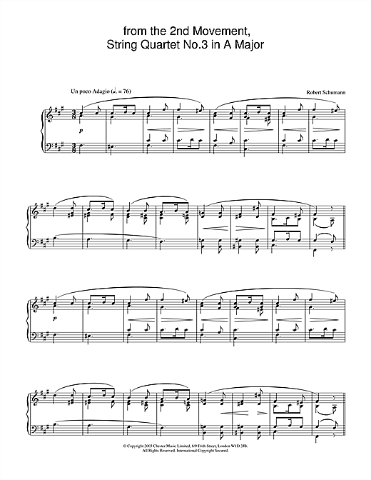 Partition piano from the 2nd Movement, String Quartet No.3 in A Major de Robert Schumann - Piano Solo