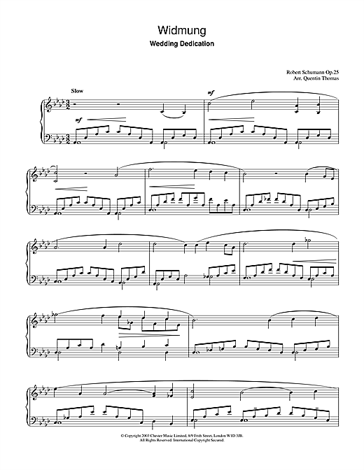 Widmung Sheet Music