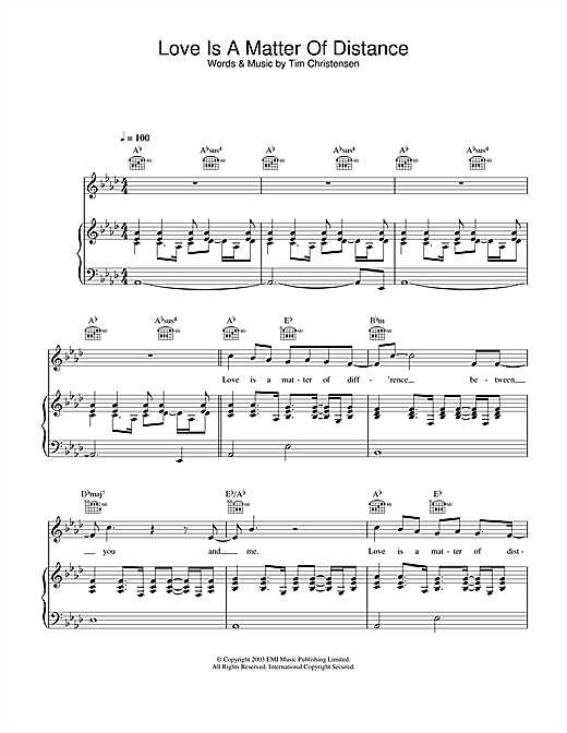 Love Is A Matter Of Distance Sheet Music