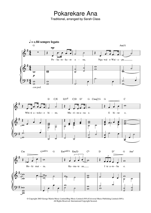 Pokarekare Ana Sheet Music