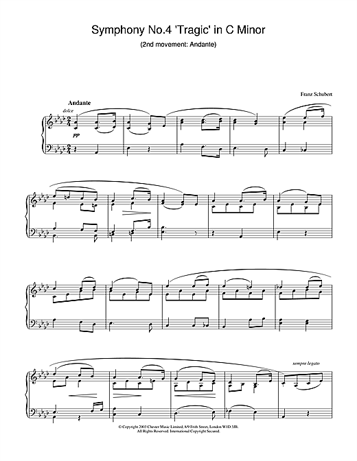 Symphony No.4 'Tragic' in C Minor - 2nd Movement: Andante Sheet Music