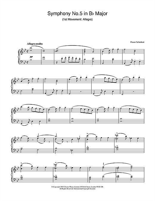 Partition piano Symphony No.5 in Bb Major - 1st Movement de Franz Schubert - Piano Solo