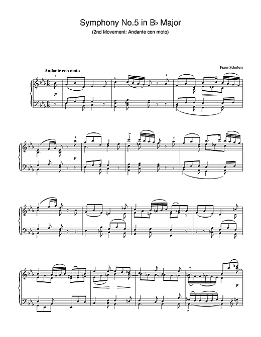 Partition piano Symphony No.5 in Bb Major - 2nd Movement de Franz Schubert - Piano Solo