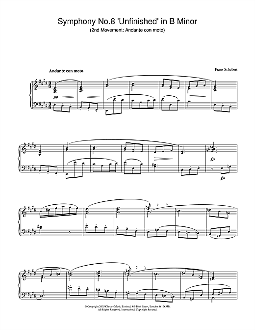 Partition piano Symphony No.8 'Unfinished' in B Minor - 2nd Movement de Franz Schubert - Piano Solo