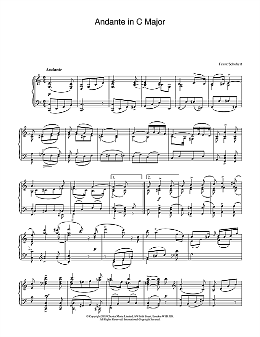 Andante in C Major Sheet Music