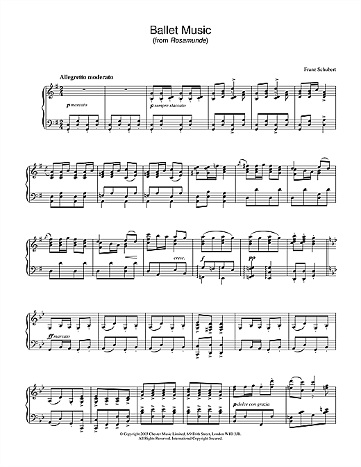 Partition piano Ballet Music in G (from 'Rosamunde') de Franz Schubert - Piano Solo