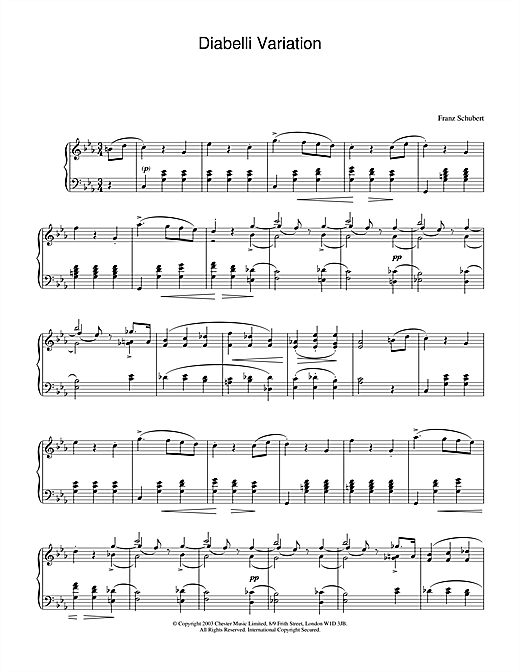 Variation on a Waltz by Diabelli, D.718 Sheet Music