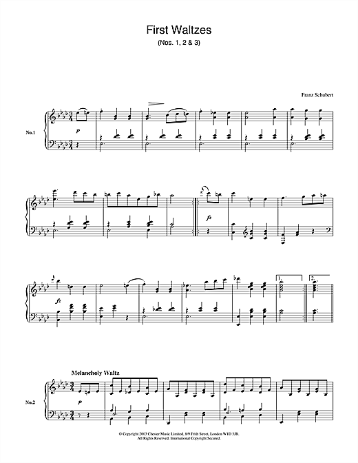 First Waltzes (Nos. 1, 2 & 3) Sheet Music