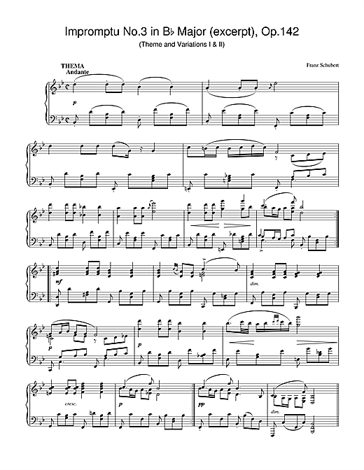 Partition piano Impromptu No.3 in Bb Major (excerpt), Op.142 de Franz Schubert - Piano Solo
