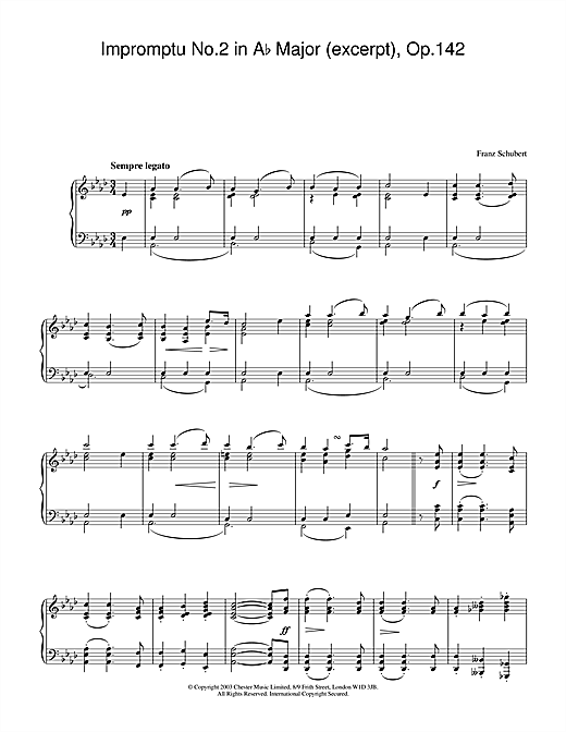 Partition piano Impromptu No.2 in Ab Major (excerpt), Op.142 de Franz Schubert - Piano Solo