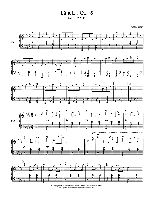 Ländler, Op.18 Sheet Music
