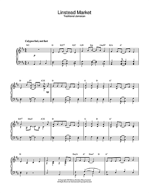 Linstead Market Sheet Music