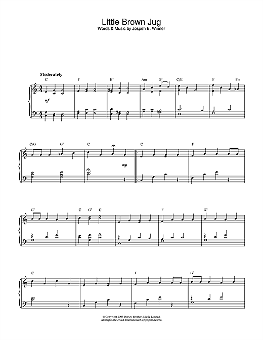 Partition piano Little Brown Jug de Traditional - Piano Solo