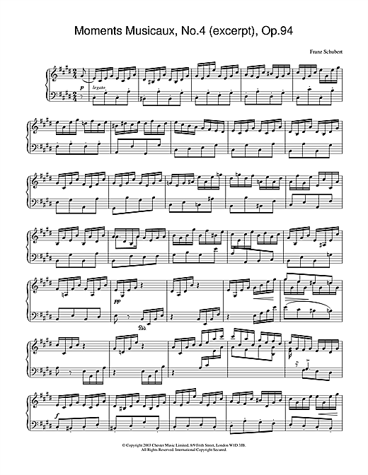 Moments Musicaux, No.4 (excerpt), Op.94 (Piano Solo)