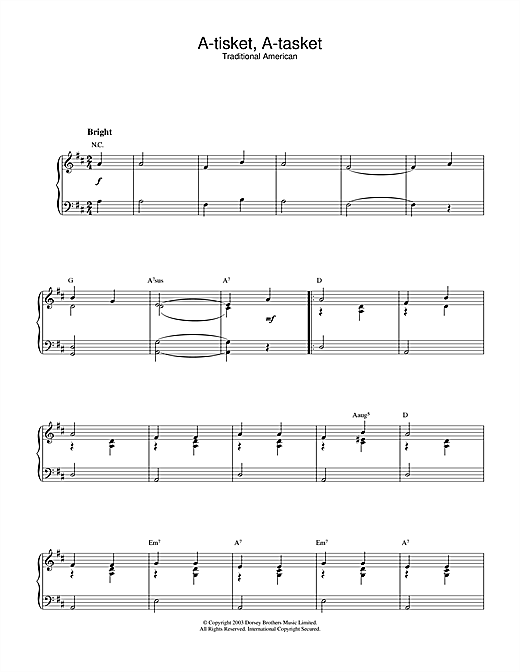 A-tisket, A-tasket Sheet Music