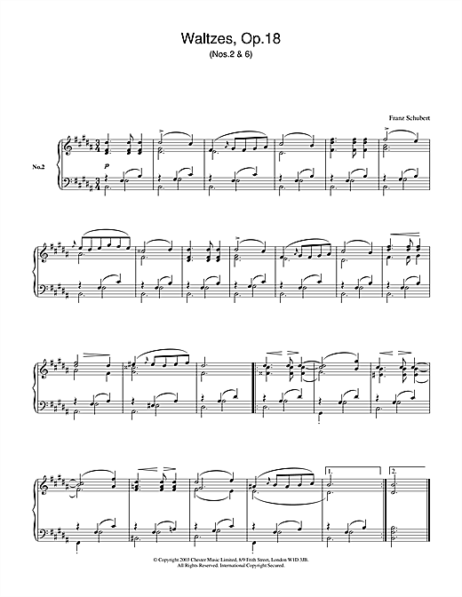 Partition piano Waltzes Op.18, No.2 & No.6 de Franz Schubert - Piano Solo