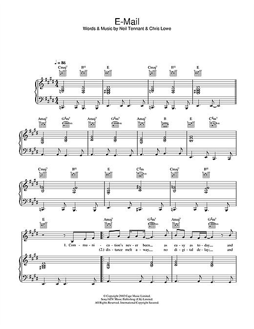 E-Mail Sheet Music