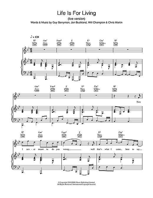 Life Is For Living (live version) Sheet Music