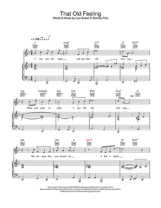 Partition piano That Old Feeling de Rod Stewart - Piano Voix Guitare