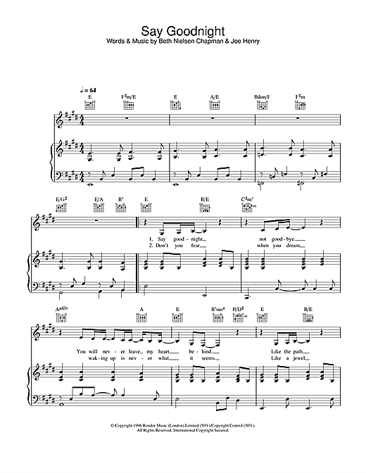 Say Goodnight Sheet Music