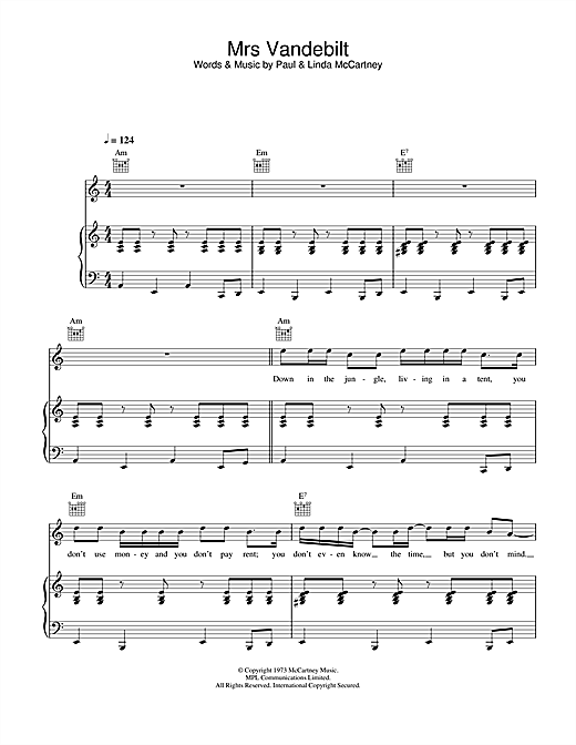 Mrs. Vandebilt Sheet Music