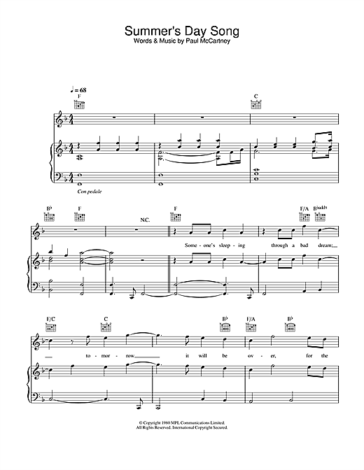 Summer's Day Song Sheet Music