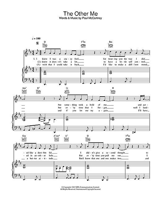The Other Me Sheet Music