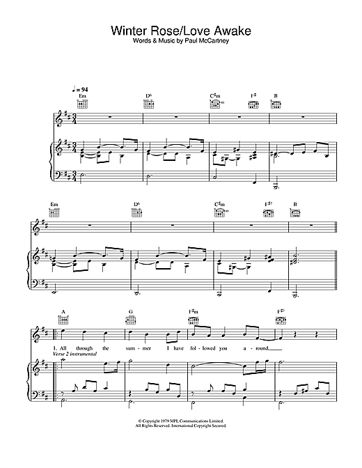 Winter Rose/Love Awake Sheet Music