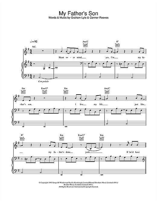 My Father\'s Son sheet music by Graham Lyle (Piano, Vocal & Guitar ...