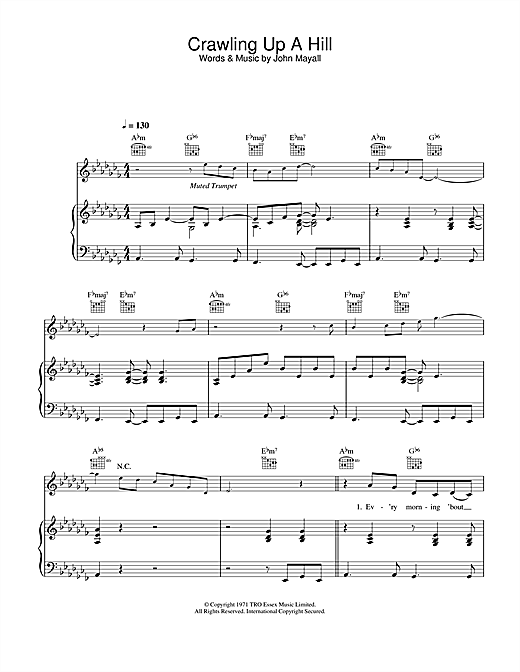 Crawling Up A Hill Sheet Music