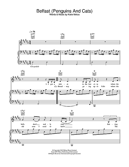 Partition piano Belfast (Penguins And Cats) de Katie Melua - Piano Voix Guitare