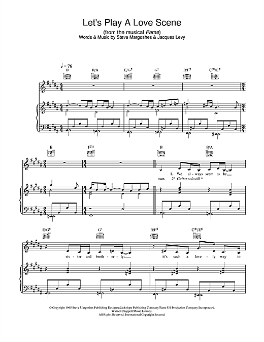 Let's Play A Love Scene (from Fame) Sheet Music