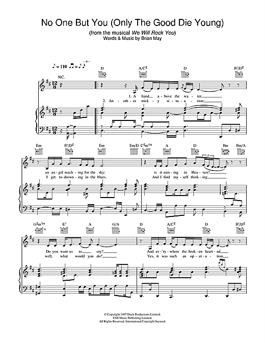 No One But You (Only The Good Die Young) (from We Will Rock You) Sheet Music