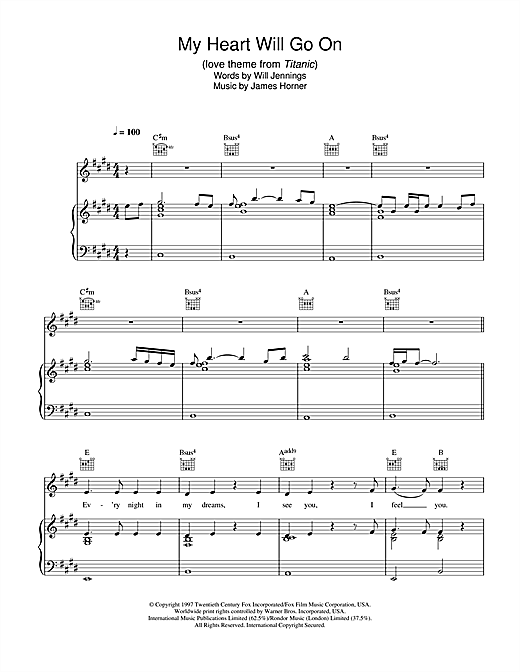 My Heart Will Go On (Love Theme from Titanic) sheet music by ...