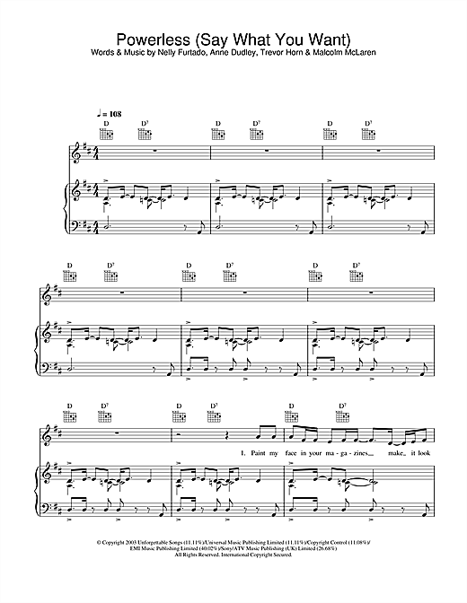 Powerless (Say What You Want) Sheet Music
